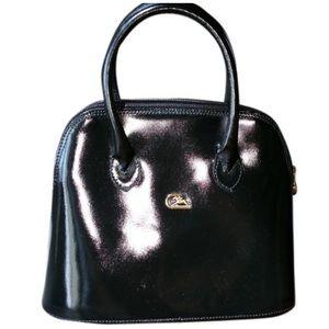 Vintage Cristian Black Italian Leather Satchel